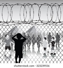 Children behind chain link fence and barbed wire in refugee camp. Vector illustration