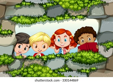 Children behind the stone wall illustration