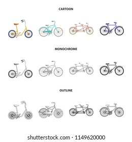 Children bicycle, a double tandem and other types.Different bicycles set collection icons in cartoon,outline,monochrome style vector symbol stock illustration web.