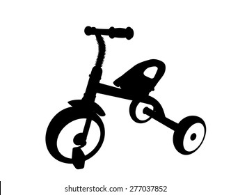 Children Bicycle with Three Wheels. Isolated on White Background.