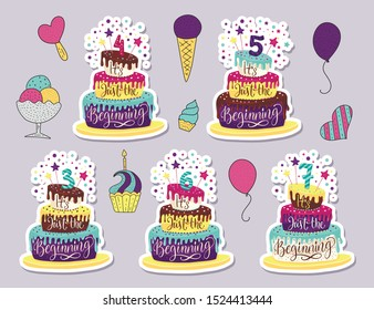 Children Birthday Anniversary vector illustration set with color cartoon cake and hand drawn lettering quote - it is just the beginning. Kids perfect design. 3th, 4th, 5th, 6th Birthday art.