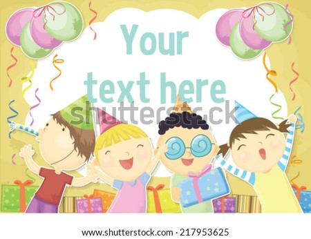 Children Birthday Card Template Stock Vector Royalty Free