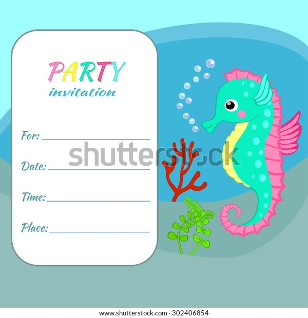 Children Birthday Party Invitation Card Template Colorful Seahorse On Sea Bottom Background Funny Animal