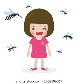 children bitten by mosquitoes, Zika virus ,malaria, yellow fever, Aedes Aegypti isolated on white background vector illustration