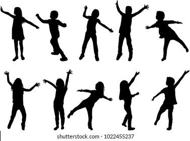 Children black silhouettes.