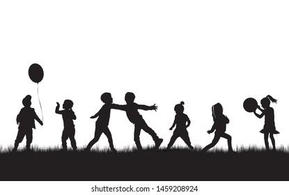Kinder Silhouetten in der Natur. Vektorgrafik.
