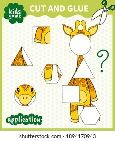 Children board animal game cut shape and glue in place for preschoolers and primary school students worksheets.Page read and match for kids educational book.Vector cartoon style.
