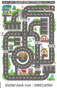 Children board game city road. Kids background with highway around the buildings. Wallpaper or carpet for childrens room. Background for gaming childish car. Maze with road signs. Vector illustration.