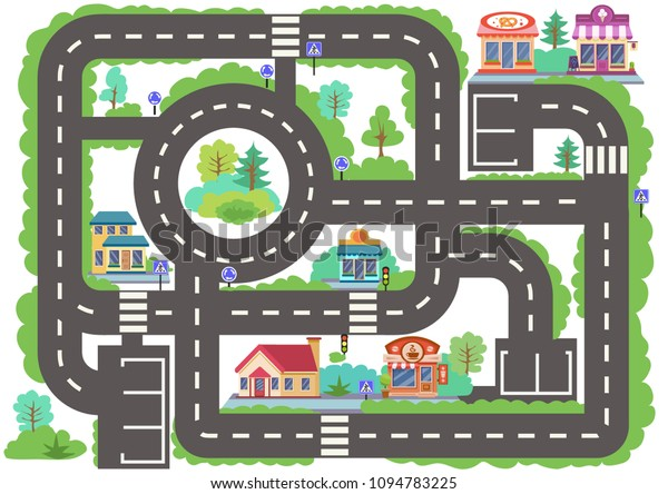 Children Board Game City Road Wallpaper Stock Vector