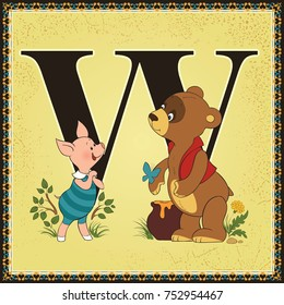 Children book cartoon fairytale alphabet. Letter W. Winnie-the-Pooh by Alan Alexander Miln. All other letters of the alphabet are in my portfolio