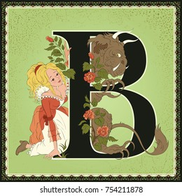 Children book cartoon fairytale alphabet. Letter B. Beauty and the Beast by Jeanne-Marie Leprince de Beaumont. All other letters of the alphabet are in my portfolio
