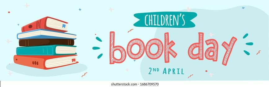 Children Book Day. International Book Day. Translation: Hari Buku Anak Sedunia. Hari Buku Sedunia. Vector illustration for greeting card, poster and banner