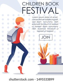 Children Book Festival Invitation Mobile Banner. Cartoon Boy Running, Hurrying on Literature Event. Schoolboy Point to Promotional Text. Library, Reading Club, Athenaeum. Flat Vector Illustration