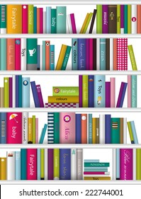 Children book shelf. Vector background.