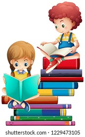 Children with books on white background illustration