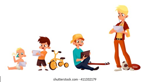Children boy of different ages played in tablet and did not play in street, vector cartoon concept of todays children, children sit and chat on Internet, four boy looking at smartphone, kids phone