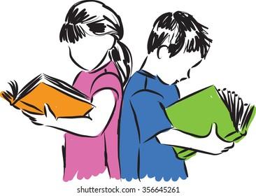 children boy and girl reading books illustration