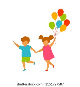children, boy and girl running holding hands with balloons