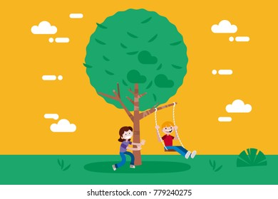 Children (boy and girl) swinging on a Swing Tree. Vector illustration in a flat minimal style.