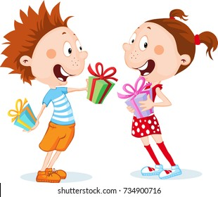 Children - Boy and Girl Unwrap Gifts isolated on white - vector illustration