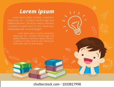 children boy thinking idea and books.Cute kid imagine in classroom with space for your text.education concept with  books background template.for web banner, backdrop, ad,promotion poster.
