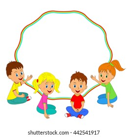 children, boys and girls sitting on the floor and frame, illustration,vector
