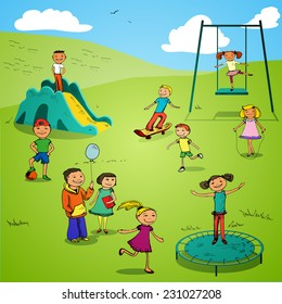 Children boys and girls sports colored sketch characters set on playground backdrop vector illustration