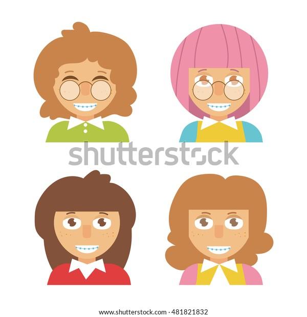 Children Braces On Teeth Vector Illustration Stock Vector Royalty