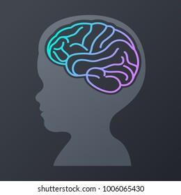children brain icon design. logo vector illustration