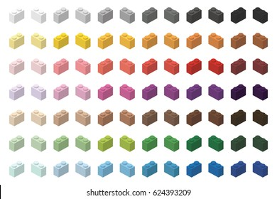 Children brick toy simple color spectrum bricks 2x1 high, isolated on white background