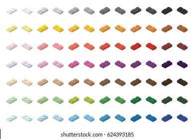 Children brick toy simple colorful bricks 2x1 low, isolated on white background