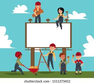 Children build of blank banner and billboard, teamwork of kids builders. Concept of kids in construction, boys, girls of different races. Cartoon vector illustration of children in uniform, helmets.
