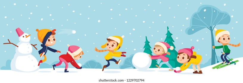 Children building snowman together and having snowball fight in forest during snowfall. Kids jumping, running and throwing a snowball. Kids making a snowballs.