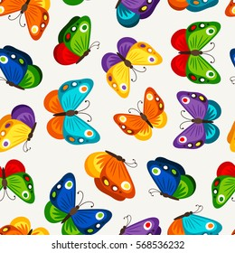 Children butterfly seamless pattern. Vector fashion butterflies wallpaper for child