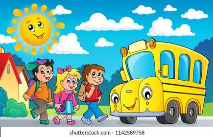 Children by school bus theme image 2 - eps10 vector illustration.