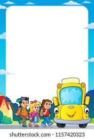 Children by school bus theme frame 2 - eps10 vector illustration.