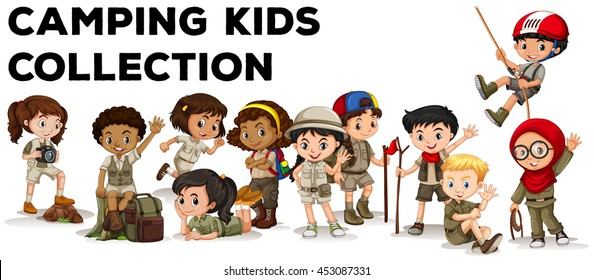 Children in camping outfit  illustration