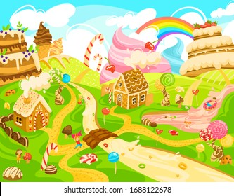 Children in candy land, kids in fantasy world of sweets, boys and girls cartoon character, vector illustration. Magic town built of sweets and confections, street, river and house of cookies and cream