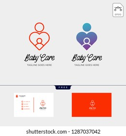 children care, baby care logo template with business card