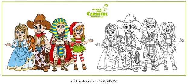 Children in carnival costumes of the pharaoh, princess, cowboy and new year elf Santa Claus color and outlined for coloring page