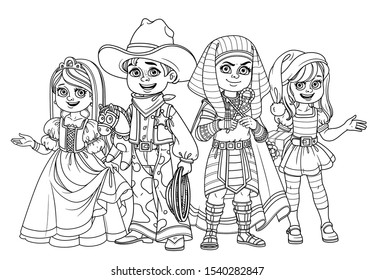Children in carnival costumes of the pharaoh, princess, cowboy and new year elf Santa Claus outlined for coloring page