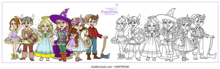 Children in carnival costumes of the unicorn, ballerina, wizard, viking, angel and lumberjack color and outlined for coloring page