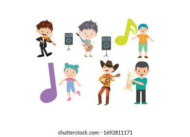 Children Carry Musical Instruments Vector Design Illustration Bundle