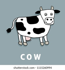 Children cartoon cow - cute farm animal illustration.