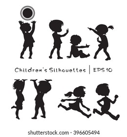 Children In Cartoon Style. Black And White Vector Silhouettes.