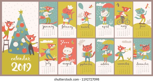 Children cartoon vector 2019 calendar with funny foxes and cats. Nice decoration for kids room.