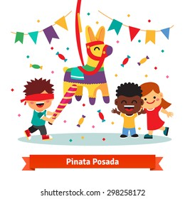 Children celebrating Posada by breaking a traditional donkey shaped Pinata.  Flat vector cartoon illustration isolated on white background.