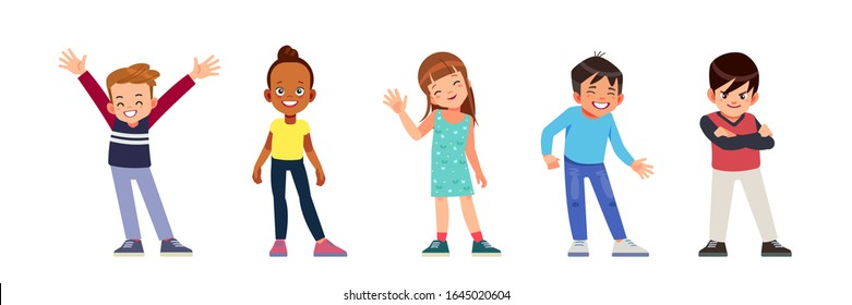 Children characters of different nationality. Happy multiracial diverse Kids Girls And Boys Group Small Cartoon Child Collection School Pupils Flat Vector Illustration isolated on white background.