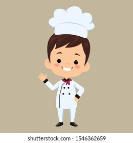 children chef cooks. Cartoon mascots character in dynamic poses. People boy and girl chef in white hat, vector illustration - Vector