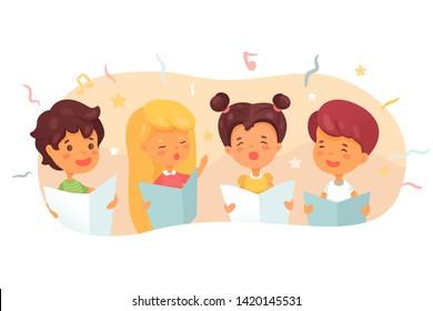 Children choir flat vector illustration. Cute kids singing in quartet, four-piece band. Music lesson at school. Boys, girls practising new song, Christmas carol. Concert, performance rehearsal